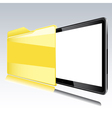 Folder with abstract monitor vector image vector image