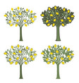 four lemon trees with different graphic styles on vector image