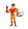 handsome superhero notebook vector image