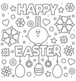 happy easter coloring page rabbit vector image