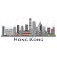 hong kong china city skyline with gray buildings vector image vector image