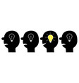 human face icon set black silhouette idea light vector image vector image