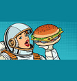 hungry woman astronaut eating burger vector image vector image