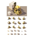 isometric forklift with crates and pallets vector image vector image