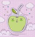 kawaii apple fruit sticker with clouds