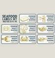 labels with seafood set templates price tags vector image