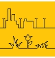 Line city scene and Yellow floral background vector image vector image