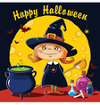 Little Witch brews a potion vector image vector image