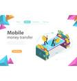 mobile money transfer isometric flat vector image vector image