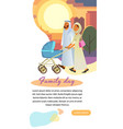 muslim family day cartoon web page template vector image vector image