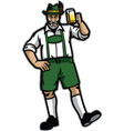 old man wearing lederhosen and happy with his beer vector image vector image