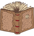 Open Book with a Brown Leather Cover vector image vector image