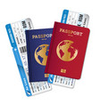passports tickets air travel realistic composition vector image vector image