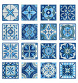 patchwork tile in blue gray and green colors vector image vector image