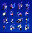 people and interfaces glow isometric icon set vector image vector image