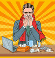 pop art businessman sneezing at work vector image vector image