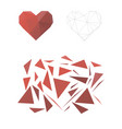 puzzle from triangles collect a heart vector image