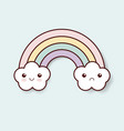 rainbow clouds kawaii vector image
