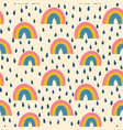 rainbows and raindrops seamless pattern vector image