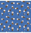 Seamless pattern with cute cartoon bees vector image vector image