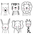 set hand drawn cute animals children vector image