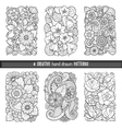 Set of backgrounds in with doodles flowers vector image vector image