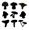 set of silhouettes of cute cartoon mushrooms vector image vector image