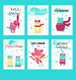 set of winter cards with cute cats vector image vector image