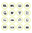 Set round icons of camper caravan trailer vector image