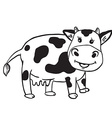 simple black and white cute cow vector image vector image