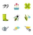 Tending garden icons set flat style vector image vector image