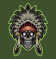 Tribal chief skull head esport mascot logo