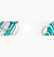 turquoise geometric hexagons tech abstract banner vector image vector image