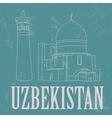 Uzbekistan landmarks Retro styled image vector image vector image