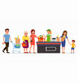 various flat people at the supermarket buying vector image vector image