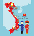 vietnam map and landmarks with people in vector image vector image