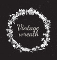 vintage wreath in natural plant flowers and vector image