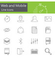 web and mobile line icons set outline vector image vector image