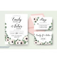 wedding invitation floral rsvp thank you card set vector image vector image