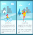 wintertime activities in city vector image vector image