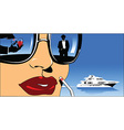 Woman on boat design vector image vector image