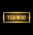 you win realistic glowing light sign vector image