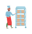 young man pushing rack with freshly-baked bread vector image