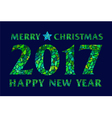 Magic mosaic green inscription 2017 on dark field vector image