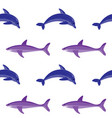 dolphin and shark embroidery seamless pattern vector image