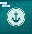 anchor icon on a green background with arrows in vector image