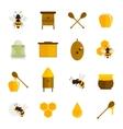 bee honey icons flat set vector image