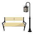 Bench and lantern vector image