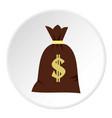 Big bag of money icon circle