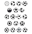 Black and white soccer balls or footballs vector image vector image
